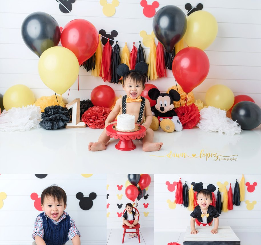 Awe Inspiring Daniels Mickey Mouse 1St Birthday Cake Smash Session Fort Worth Personalised Birthday Cards Bromeletsinfo